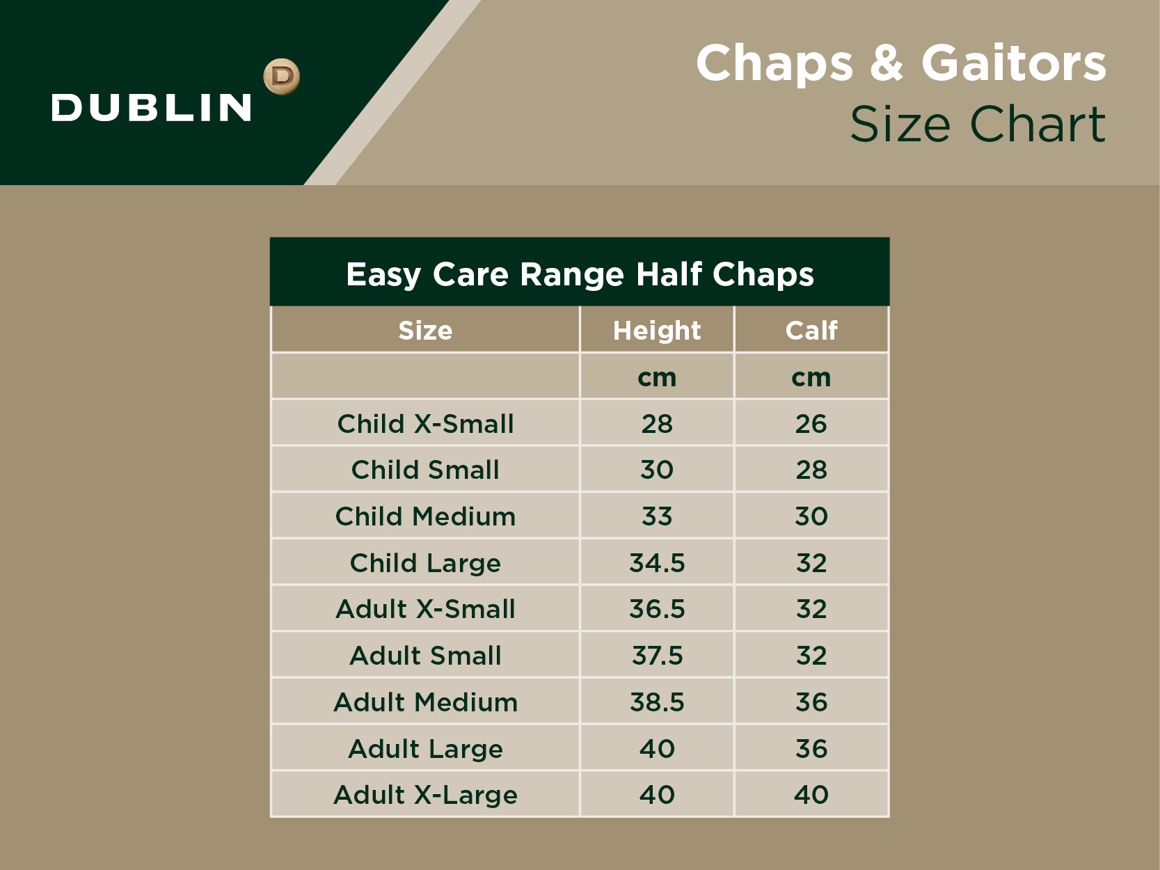 Easy Care Half Chaps Size Chart