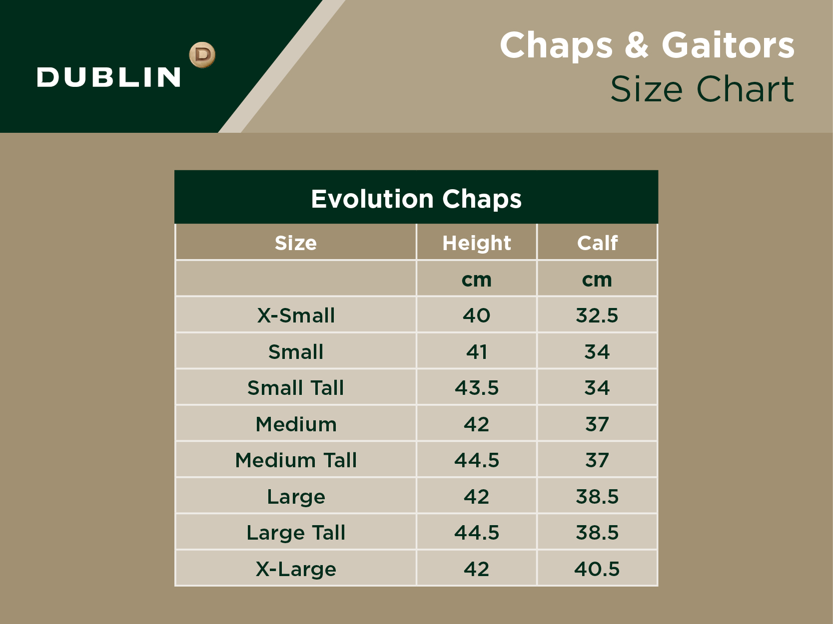 Evolution Chaps Size Chart
