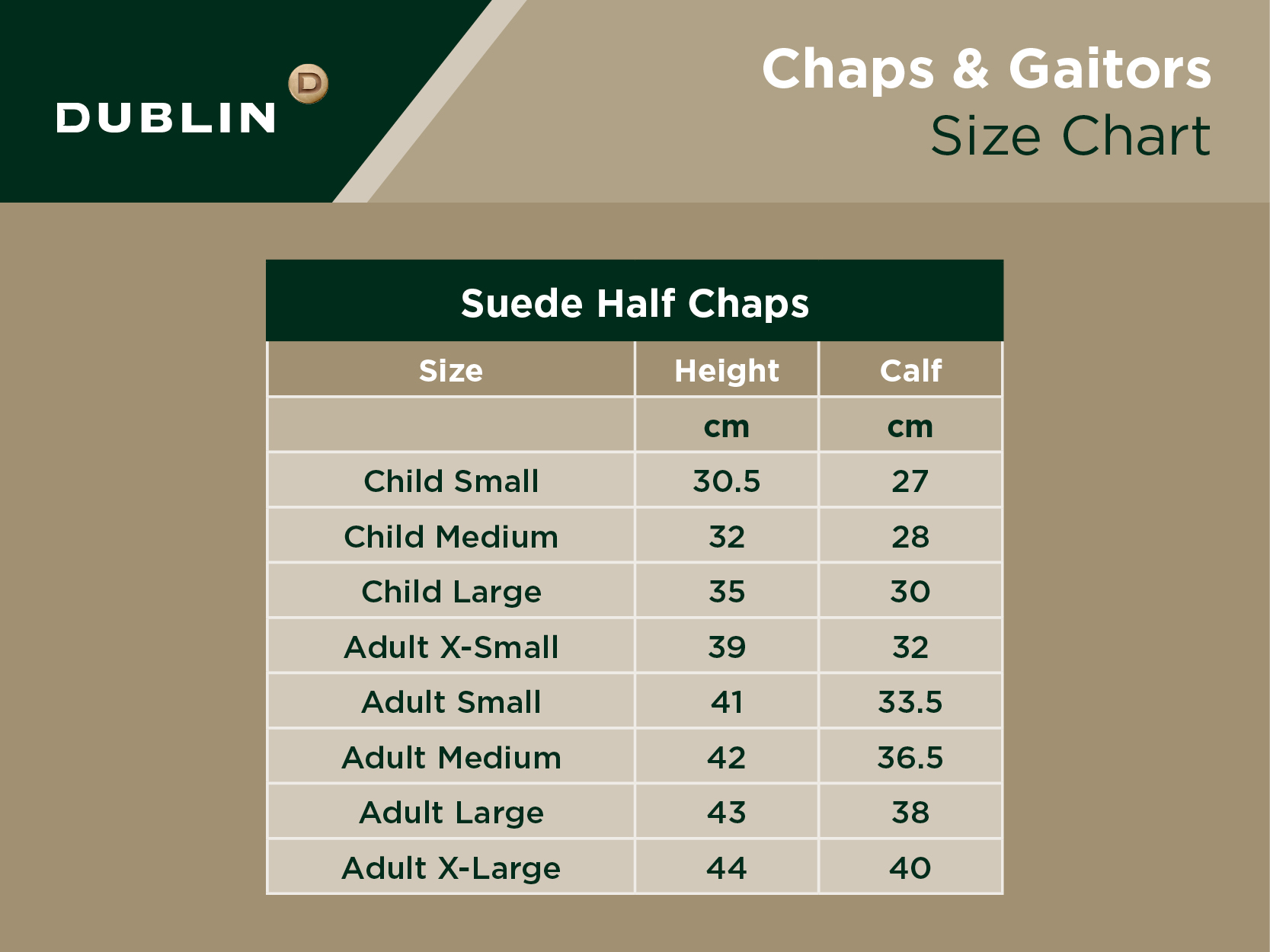 Suede Half Chaps Size Chart