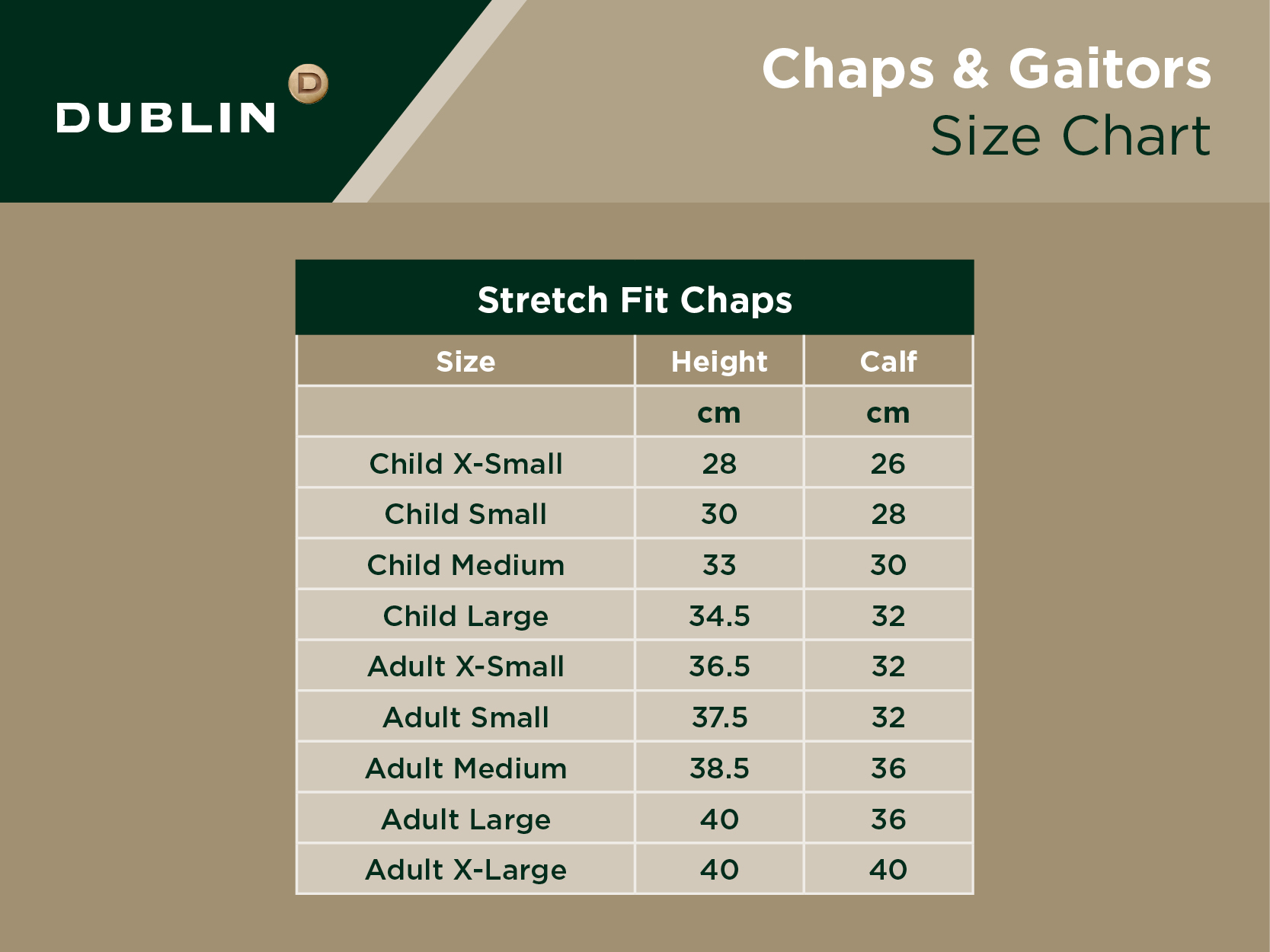 Stretch Fit Chaps Size Chart