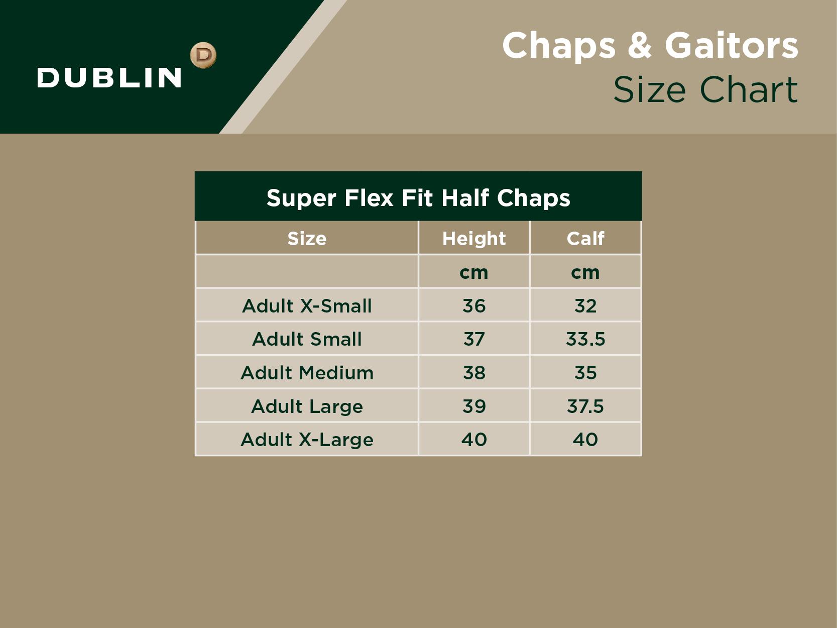 Super Flex Fit Half Chaps Size Chart