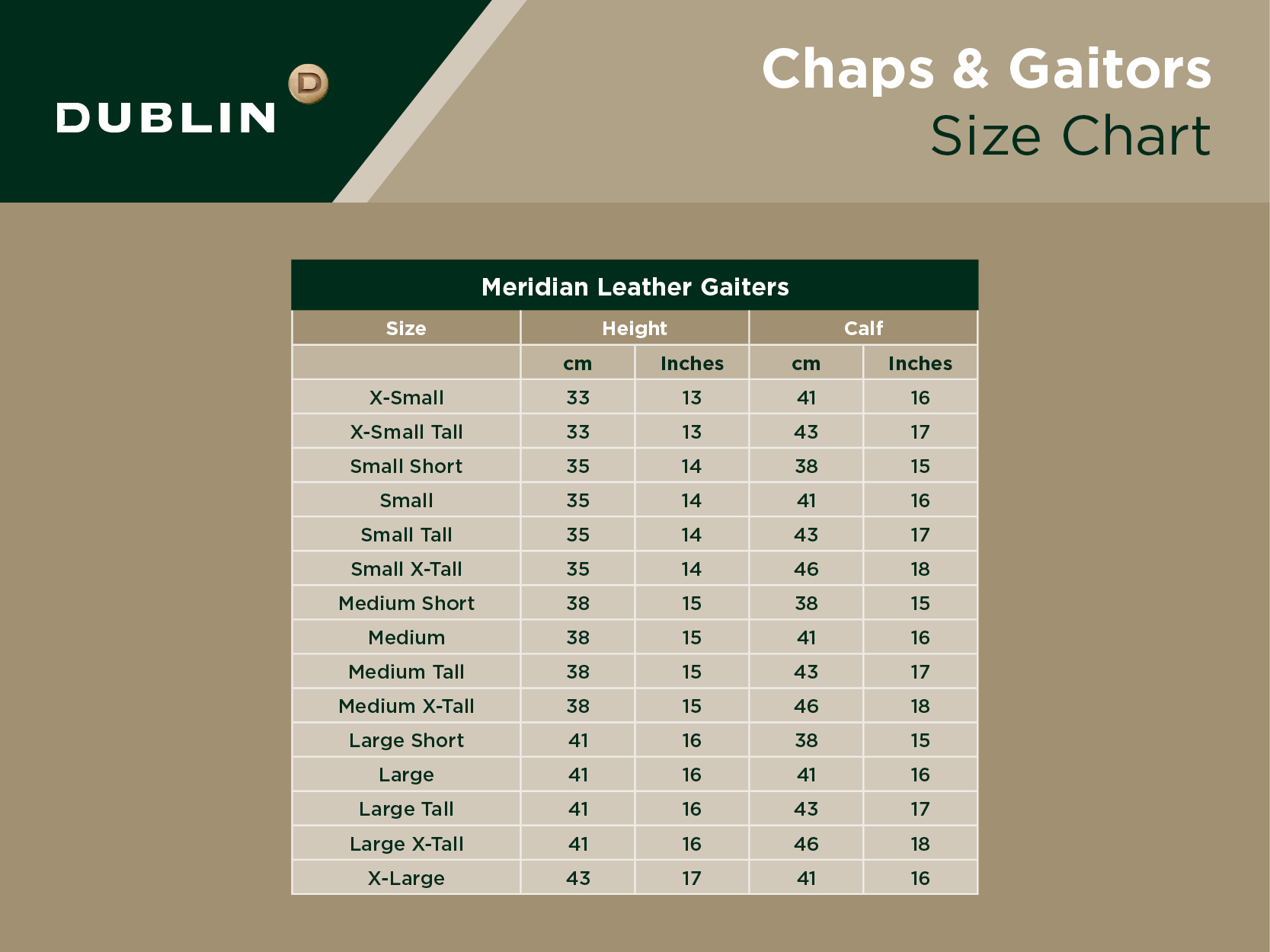 Meridian Leather Gaiters Size Chart