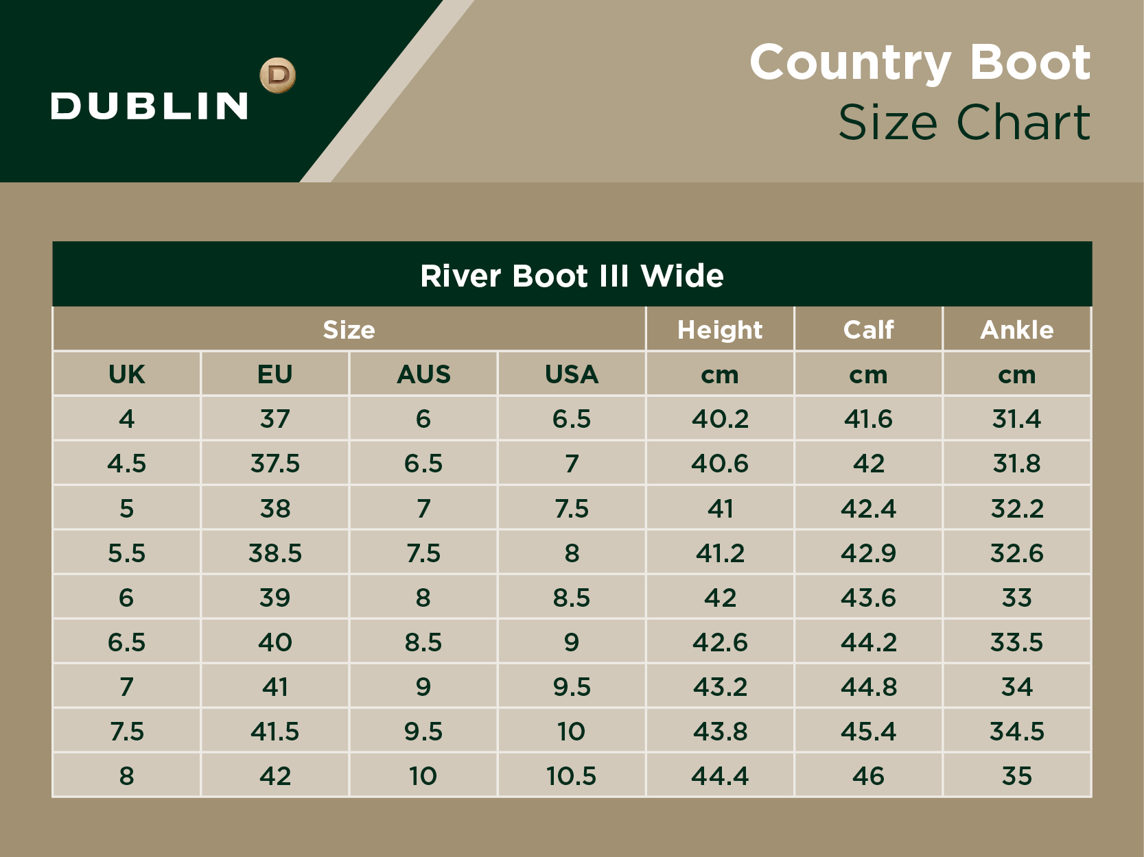 River Boot III Wide Size Chart
