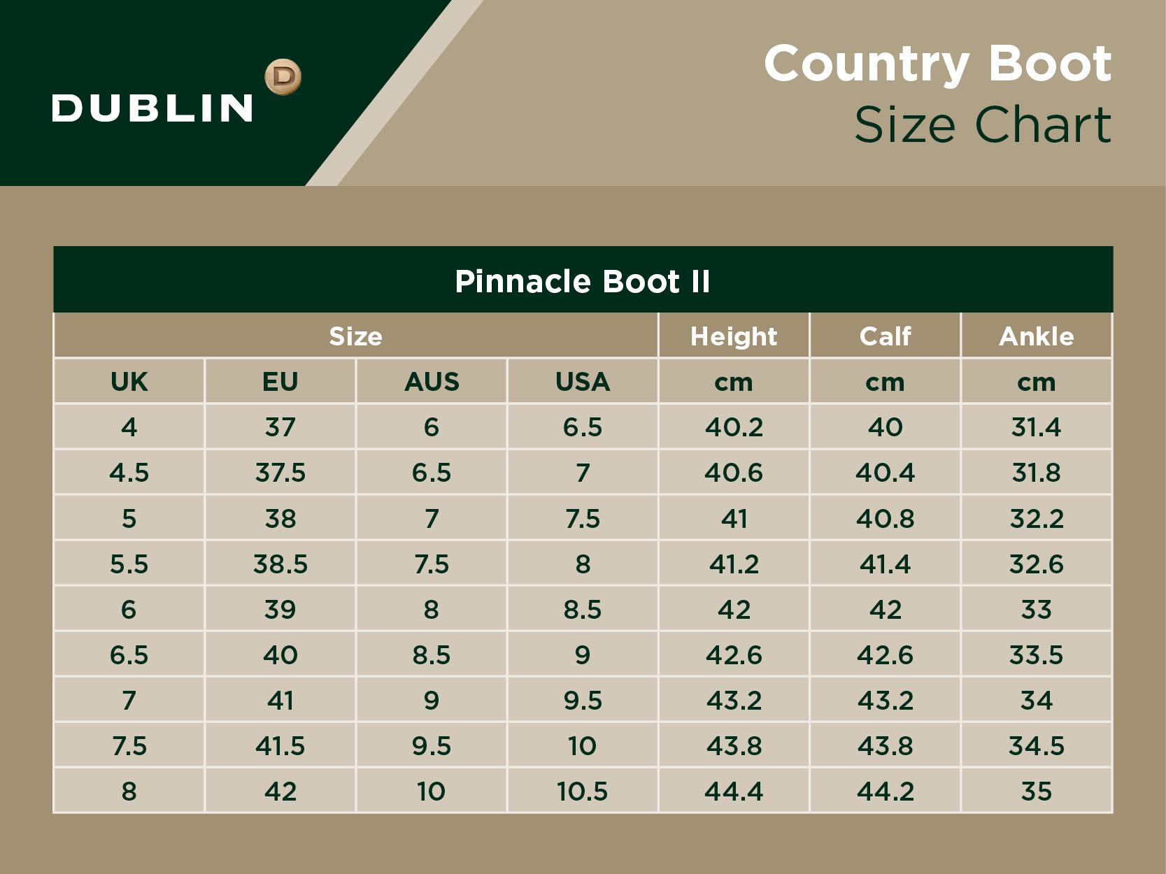 Pinnacle Boot II Size Chart