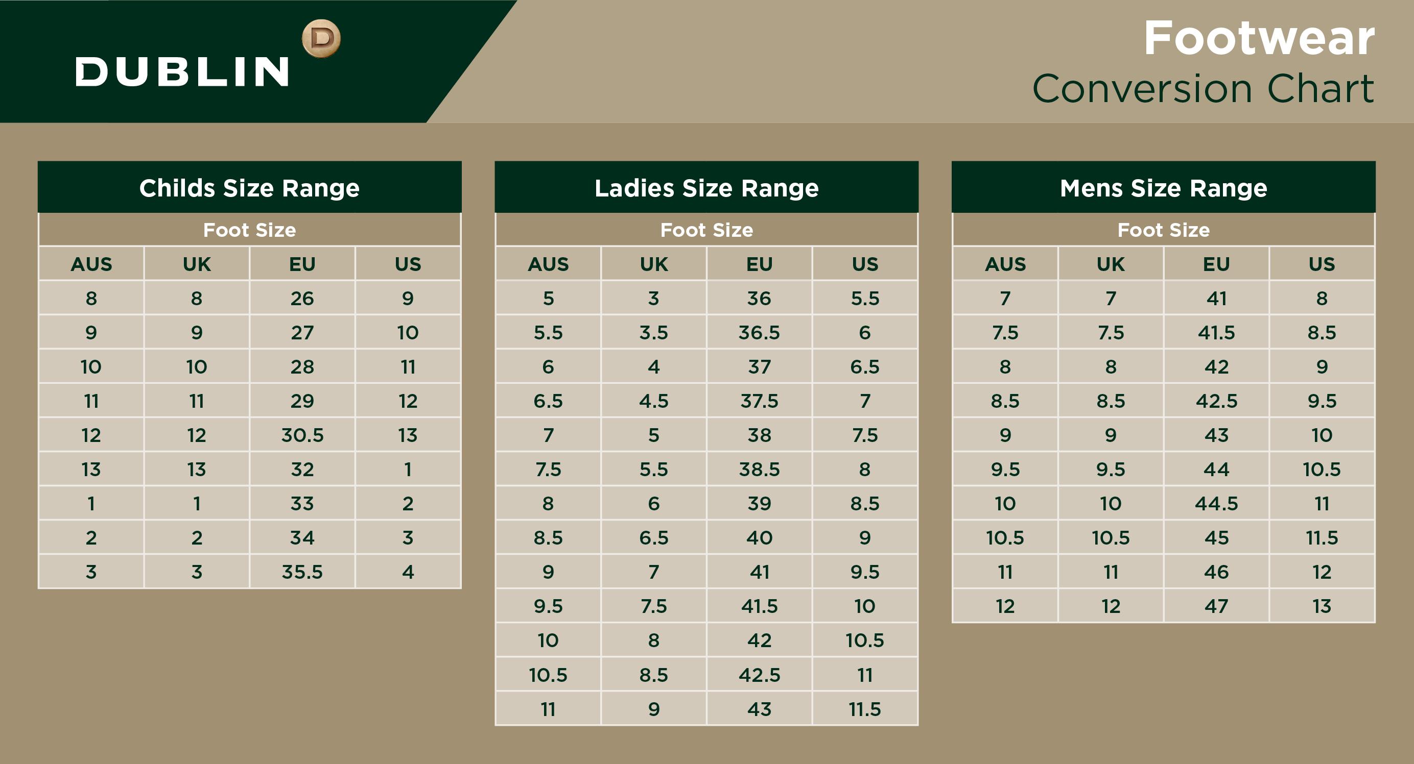 Dublin Footwear Conversion Chart