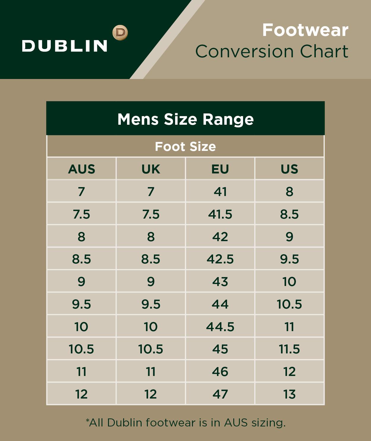 Mens Footwear Size Chart