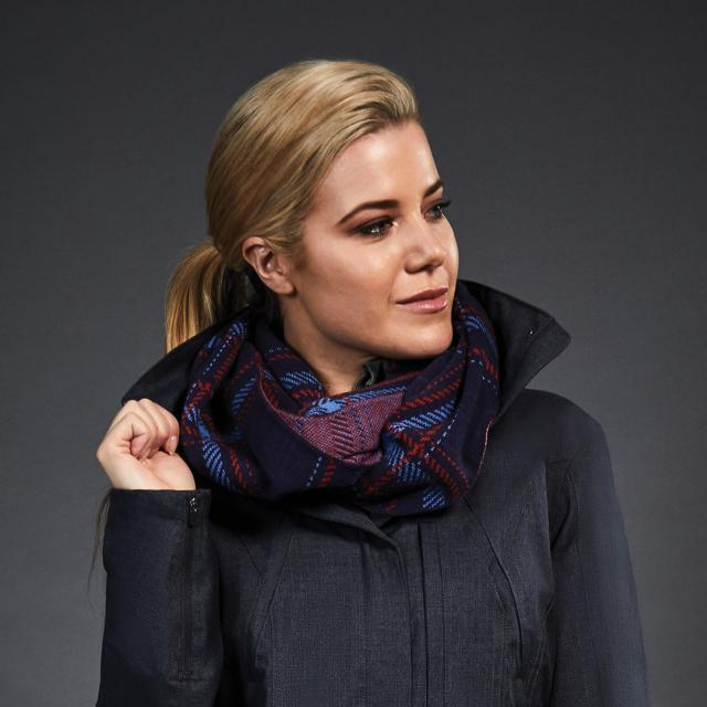 Dublin Black Christy Snood Navy/Scarlet/Coast Check