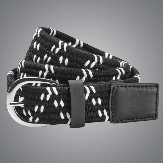 Dublin Black Elastic Belt Black/White