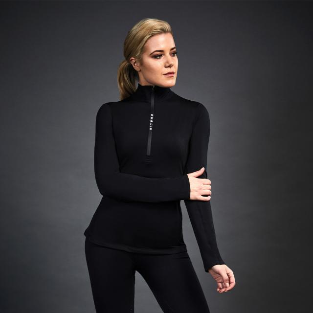 Dublin Black Leslie Half Zip Thermal Top Black