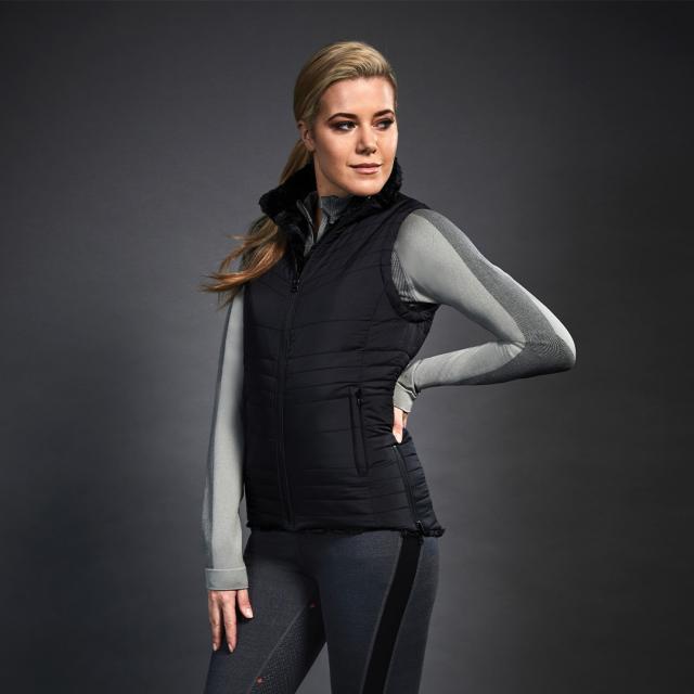 Dublin Black Taylor Reversible Puffer Fur Vest Black