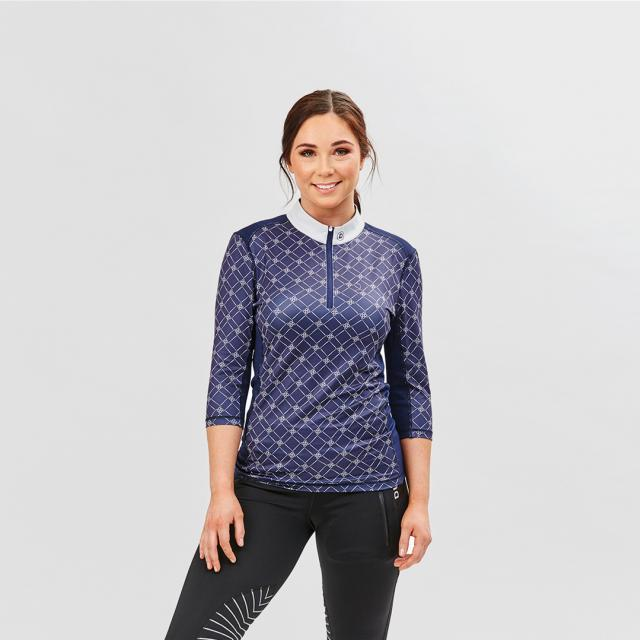 Dublin Jillian 5/8 Sleeve Show Shirt Printed Navy
