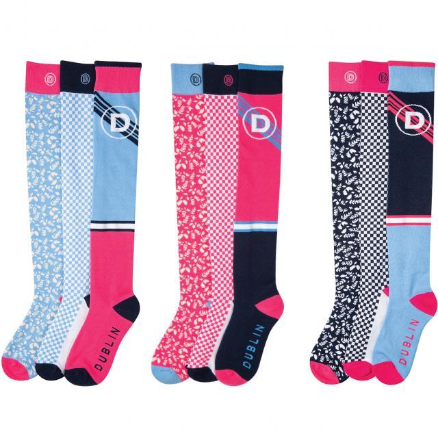 Dublin Marianne Ladies Country Socks Chambray, Flamingo & Navy