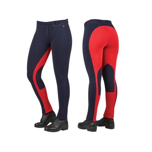Dublin Supa-Fit Euro Seat Pull On Jodhpurs Navy/Red