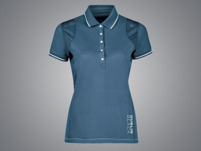 Dublin Black Madeline Short Sleeve Technical Polo Majolica Blue