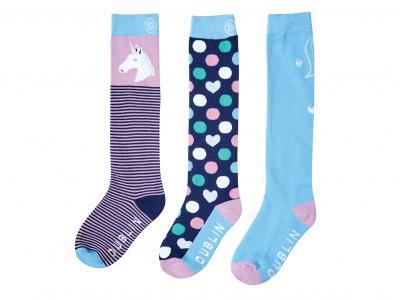Dublin Childs 3 Pack Socks Serenity Pony