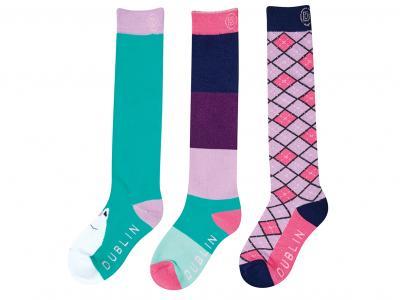 Dublin Childs 3 Pack Socks Turquoise Argyle