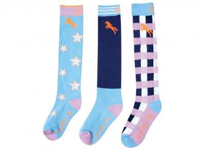 Dublin Childs 3 Pack Socks Deep Cobalt Check