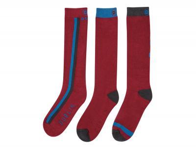 Dublin 3 Pack Colour Block Socks Deep Crimson Red