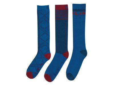 Dublin 3 Pack Velvet Socks Arctic Blue