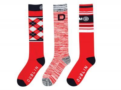 Dublin Ladies Red 3 Pack Socks Racing Red