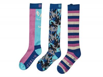 Dublin Kids Printed 3 Pack Socks Federal Blue