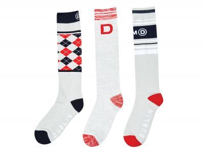 Dublin Kids Red 3 Pack Socks Grey