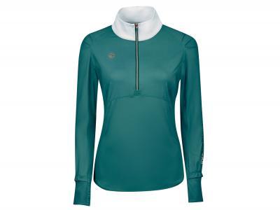 Dublin Black Daisy 1/2 Zip Long Sleeve Competition Shirt Emerald Green