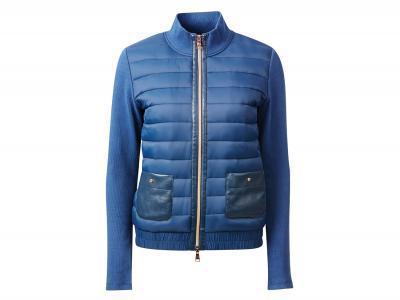 Dublin Black Eleanor Leather Detail Puffer Jacket Bluestone