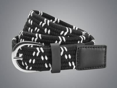 Dublin Black Elastic Belt Black/White