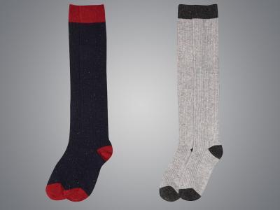 Dublin Black Iris Rib Winter Socks Navy & Grey