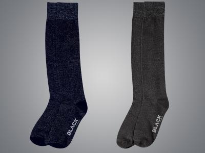 Dublin Black Julia Lurex Stocking Socks Navy & Charcoal