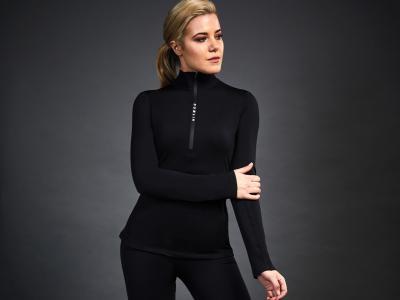 Dublin Black Leslie Half Zip Thermal Top Black