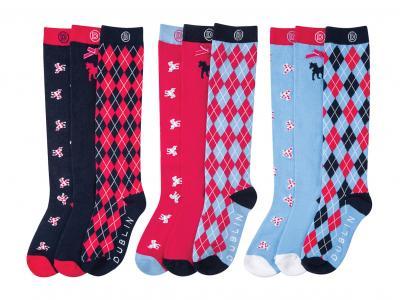 Dublin Jacquie 3 Pack Socks Navy, Poppy & Multi