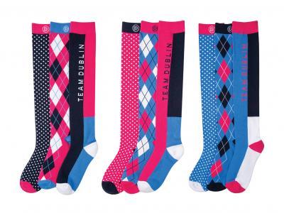 Dublin Mandy 3 Pack Socks Navy, Poppy & Multi