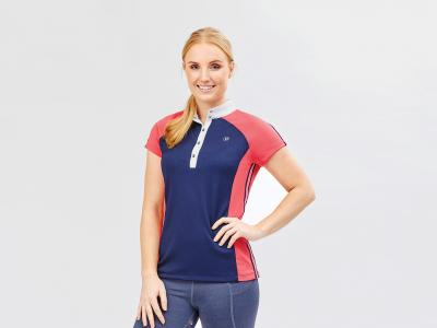 Dublin Nicole Short Sleeve Raglan Competition Shirt True Navy/Poppy/White