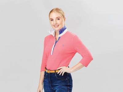 Dublin Nora 3/4 Sleeve Polo Flamingo