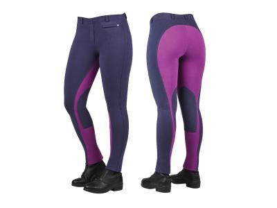 Dublin Supa-Fit Euro Seat Pull On Jodhpurs Graphite/Purple