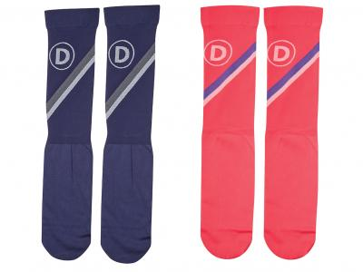 Dublin Team Stripes Ladies Stocking Socks Navy & Poppy